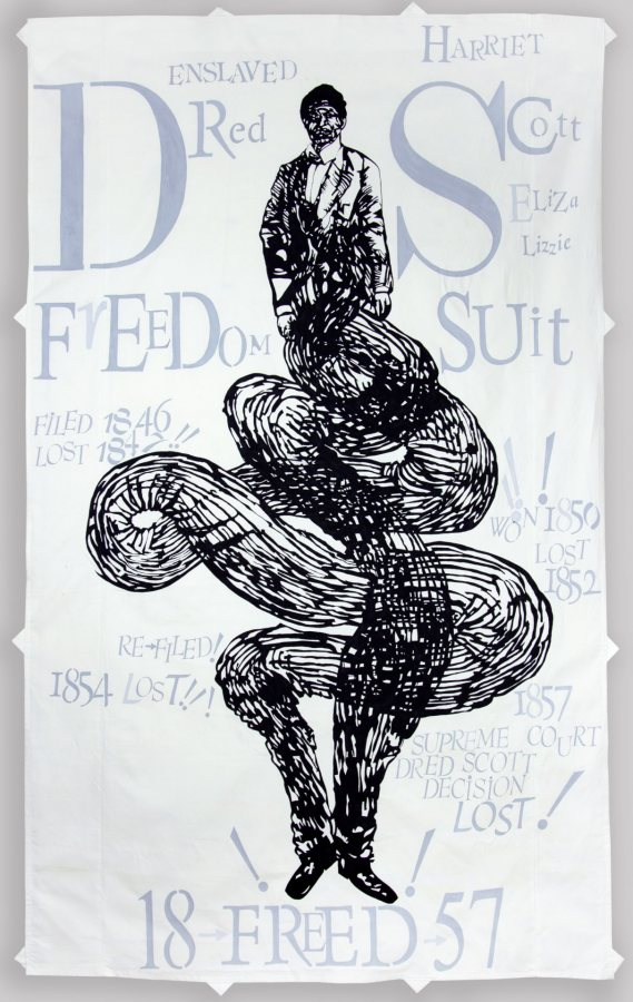 Lesley Dill, Dred Scott, 2021, acrylic paint on cotton fabric, 100 x 60 inches