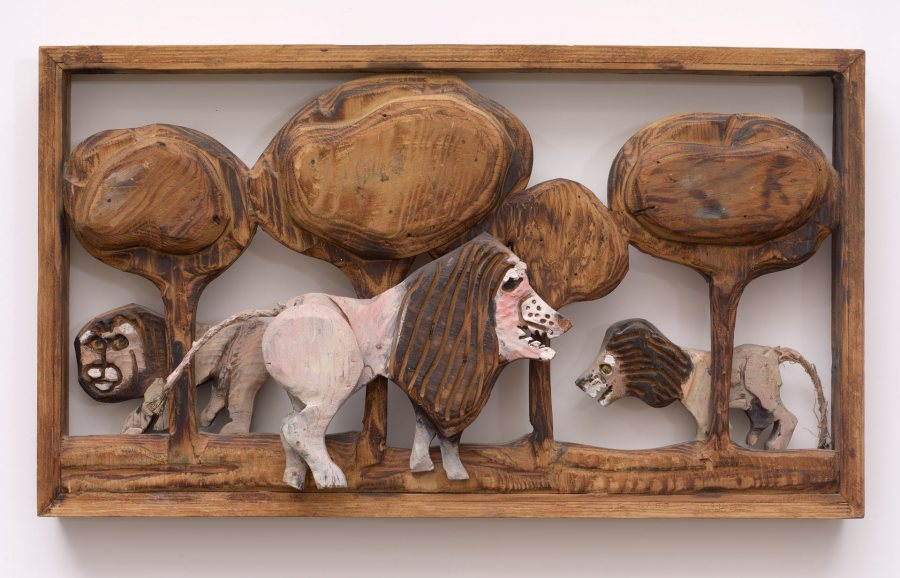 Bernard Langlais, Lions, n.d., carved and painted wood, 13 ¼ x 23 ¼ x 3 ½ inches, 2019.4.42