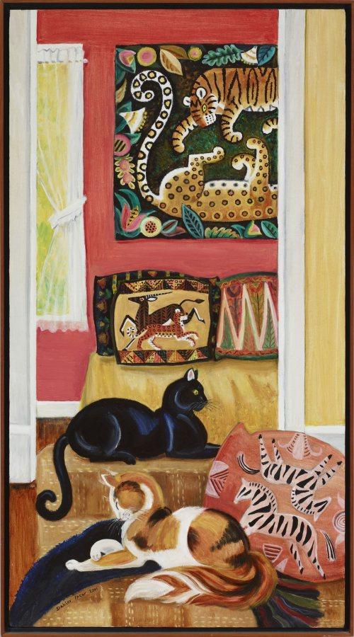 Dahlov Ipcar, Jungle Interior, 2001, oil on canvas, 44 ½ x 24 inches, 2019.4.51