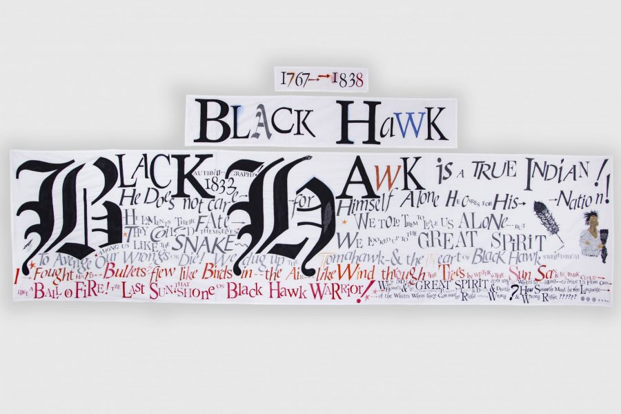 Lesley Dill, Black Hawk Banner Set, 2021, acrylic paint and hand-cut paper on cotton fabric, Story Banner: 36 x 144,  Name Banner: 12 x 63, Date Banner: 6 x 22 inches