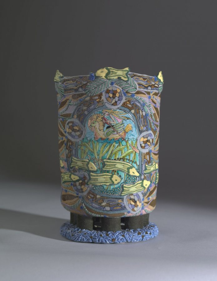 Jane Peiser, Vase, n.d., colored clay, 19 ¾ x 7 ½ x 7 ½ inches, 2019.4.81