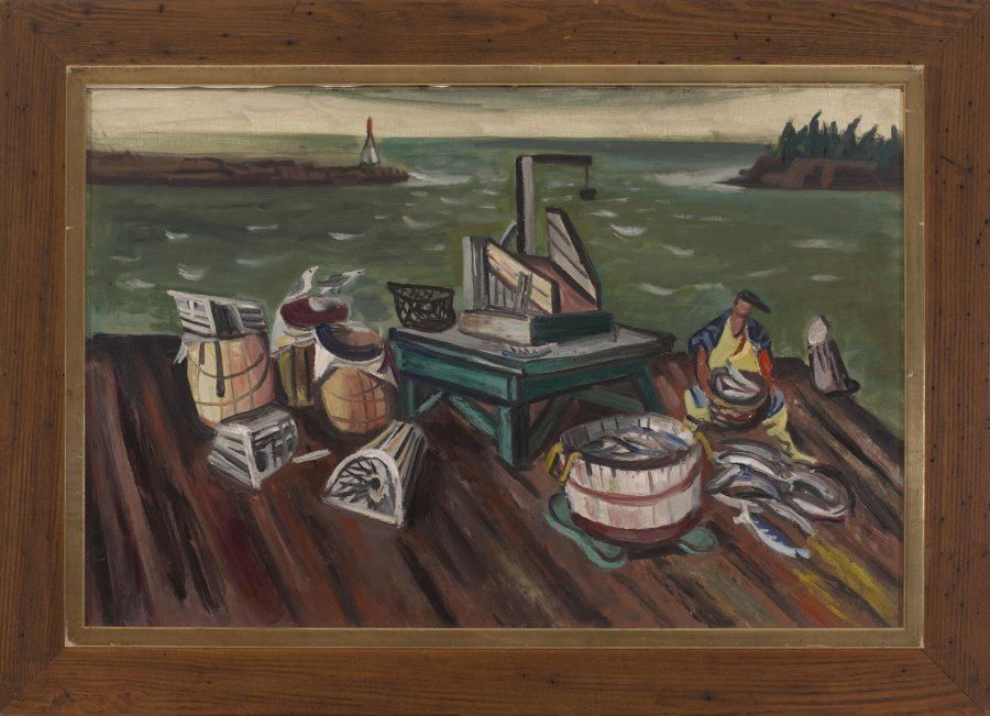 Maurice Freedman, Maine Pier, 1945, oil on canvas, 20 x 30 ¼ inches, 2019.4.10
