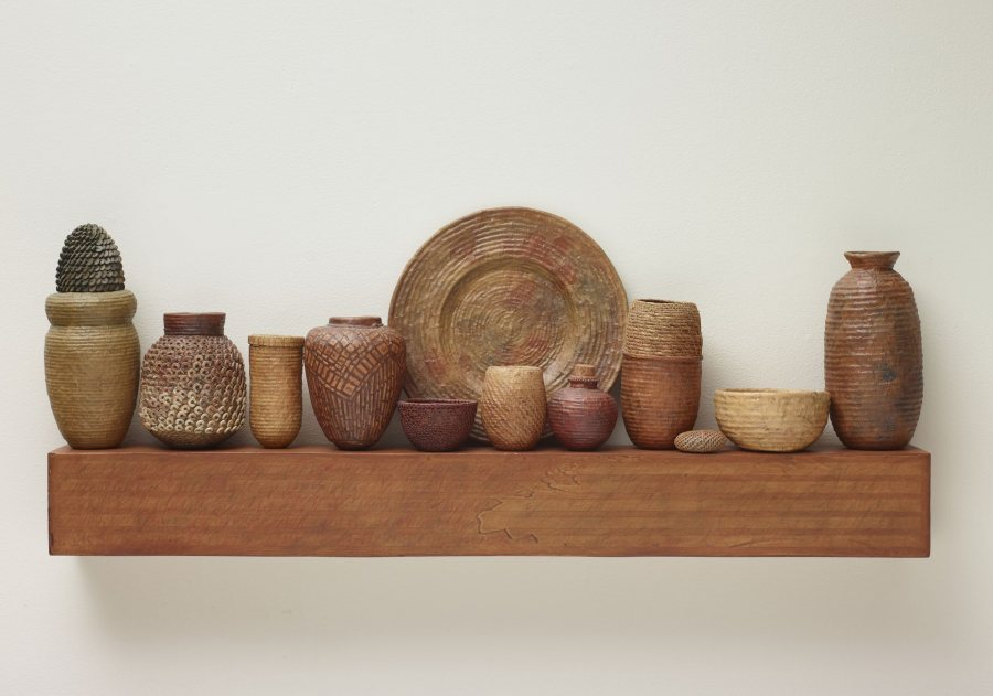 Lissa Hunter, #33-Pasttimes, basketry and mixed media, n.d., 14 x 36 x 4 ½ inches, 2019.4.84.a-l