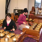 Gamelan students rehearse <i>bonang</i>