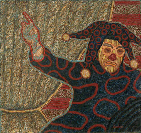 """Rié Payaso"" (""Laughing Clown""), a 1994 acrylic painting on canvas by Manuel López Oliva."