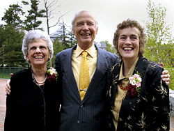 Helen Papaioanou '49, Ralph Perry '51 and Pamela Baker '70.
