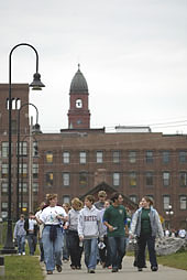 Bates first-year students visit Lewiston's mill district in the 2003 downtown tour.