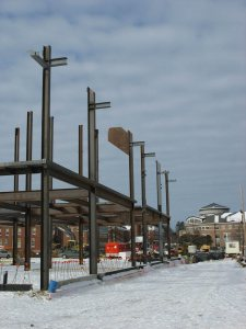 A view of the new Commons with Pettengill in the background. (Doug Hubley/Bates College)
