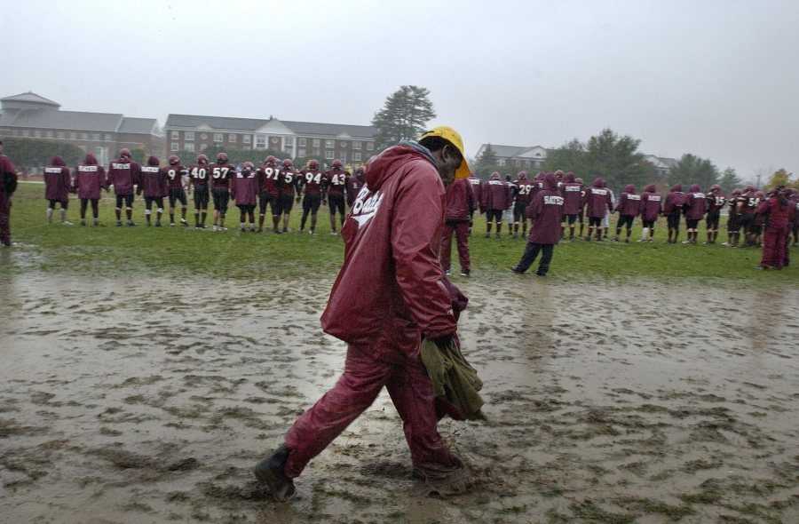 Images from Bates College versus Colby College football game, Oct. 28, 2006, at Garcelon Field. Brian Bachow's 22-yard field goal in the fourth overtime period gave the Colby College football team a 10-7 victory over Bates College Saturday in the driving rain.