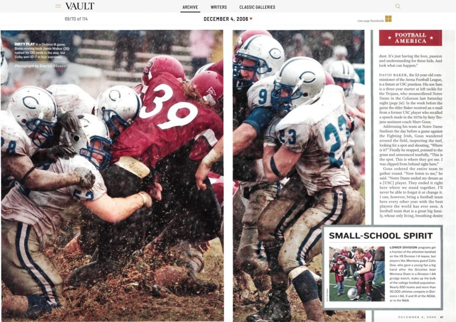 Toned to make the Bates garnet appear a bit more red, this is how the Bates-Colby photograph appeared in the Dec. 6, 2006, issue of Sports Illustrated.