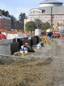 The Commons foundation, where steel will start to rise next week. (Doug Hubley/Bates College)