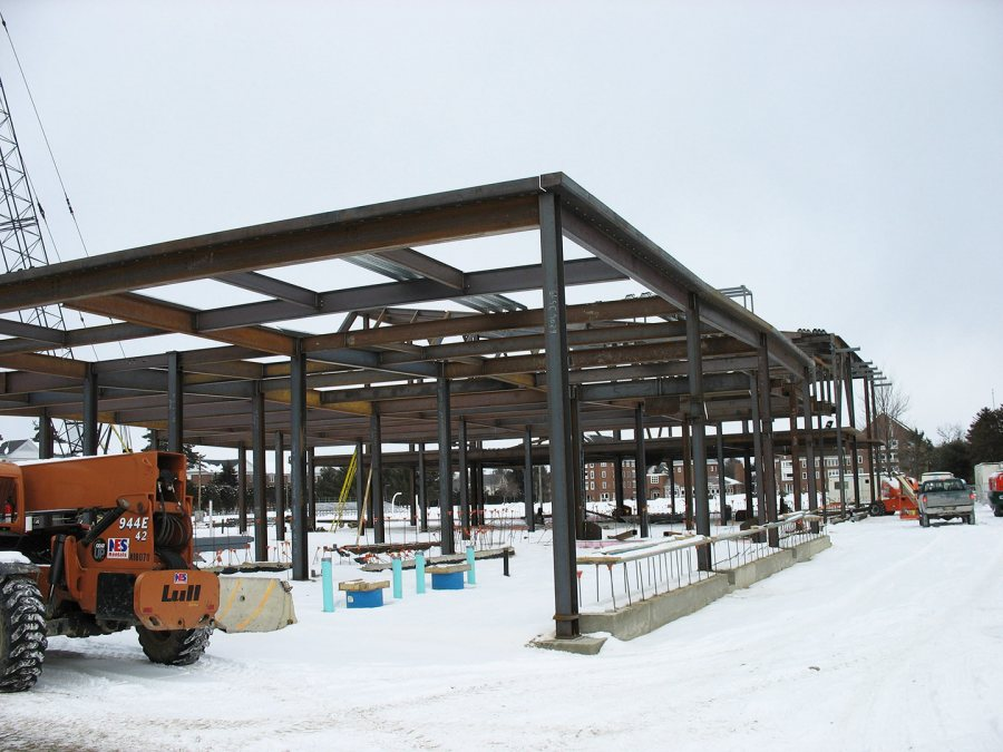 Steel encloses the space where the new Commons kitchen will be. (Doug Hubley/Bates College)