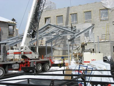The steel structure of the fireplace lounge at 280 College St. (Doug Hubley/Bates College)