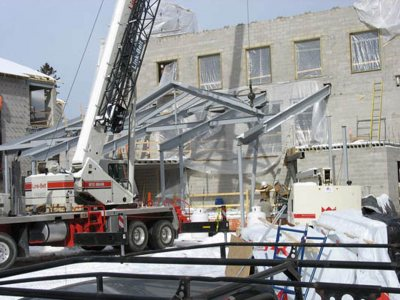 Steel rises for the kitchen area of the new Commons. (Phyllis Graber Jensen/Bates College)