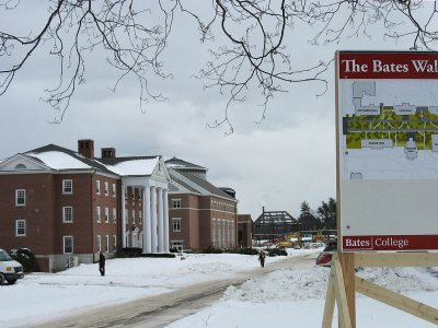 Walk this way: This image taken from College Street in February shows the site of the future Alumni Walk. (Doug Hubley/Bates College).