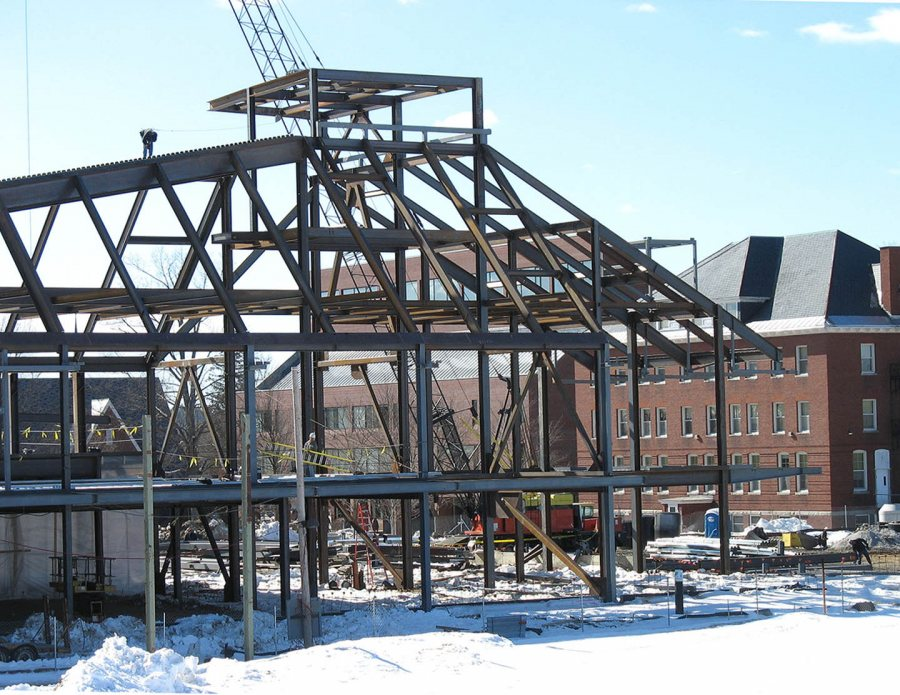 The new Commons on Feb. 27, 2007, with Ladd Library and Roger Bill behind. (Doug Hubley/Bates College)