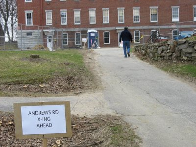 "Not a ""critical path"" but an important one through Andrews Road upheaval. (Doug Hubley/Bates College)"