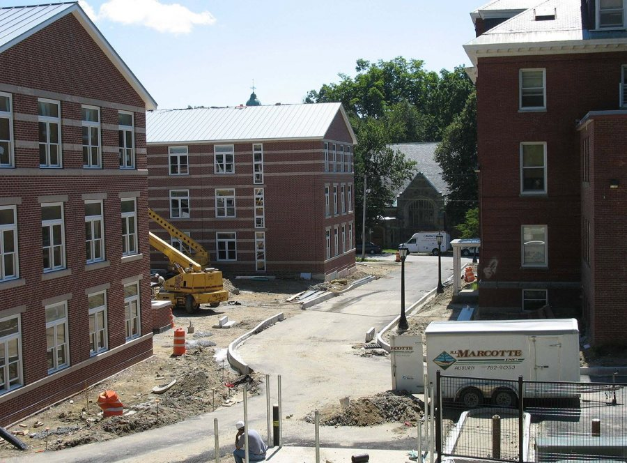 Old Rand and the new housing, with the Chapel in the background. (Doug Hubley/Bates College)