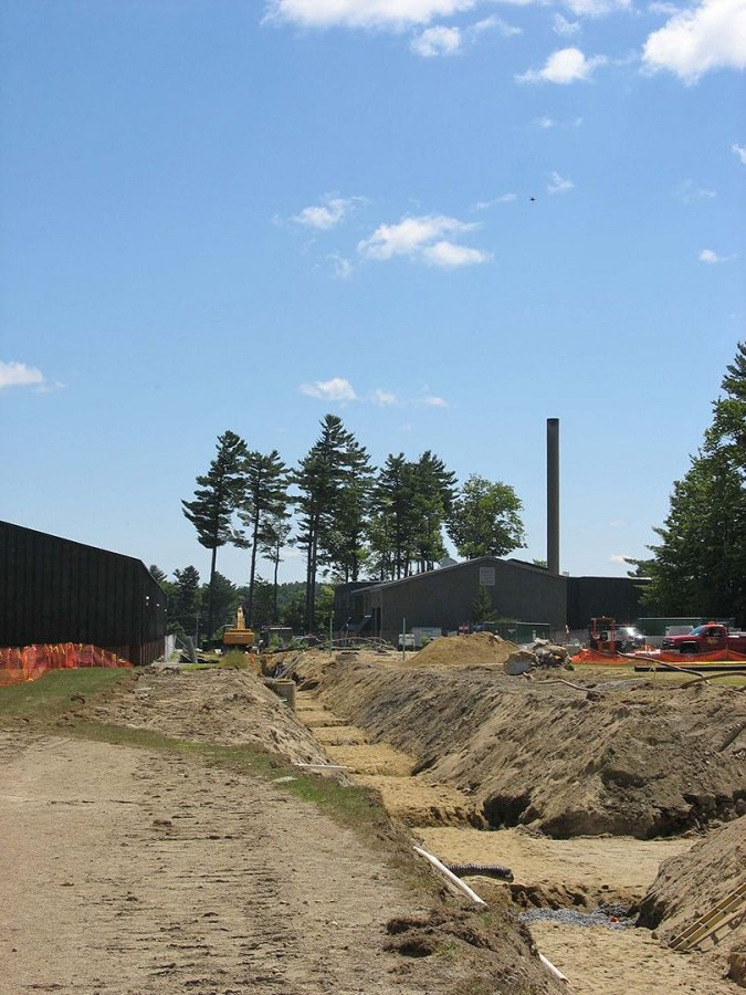 The Leahey Field steam-line trench. (Doug Hubley/Bates College)