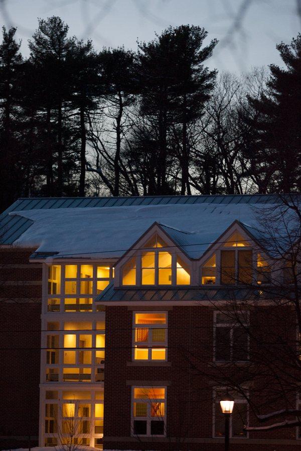 280 College Street at dusk. (Phyllis Graber Jensen/Bates College)