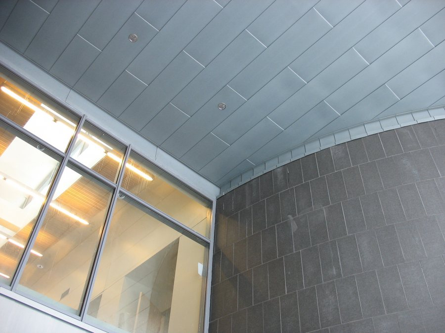 Zinc, glass and granite at the east entrance. (Doug Hubley/Bates College)