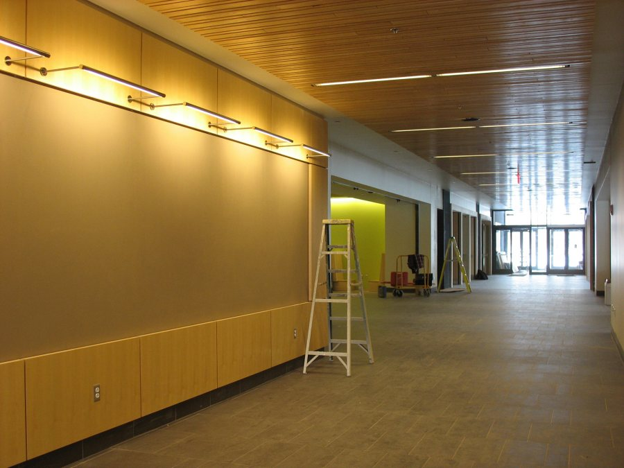The Arcade in the new Commons won't be so empty much longer. (Doug Hubley/Bates College)