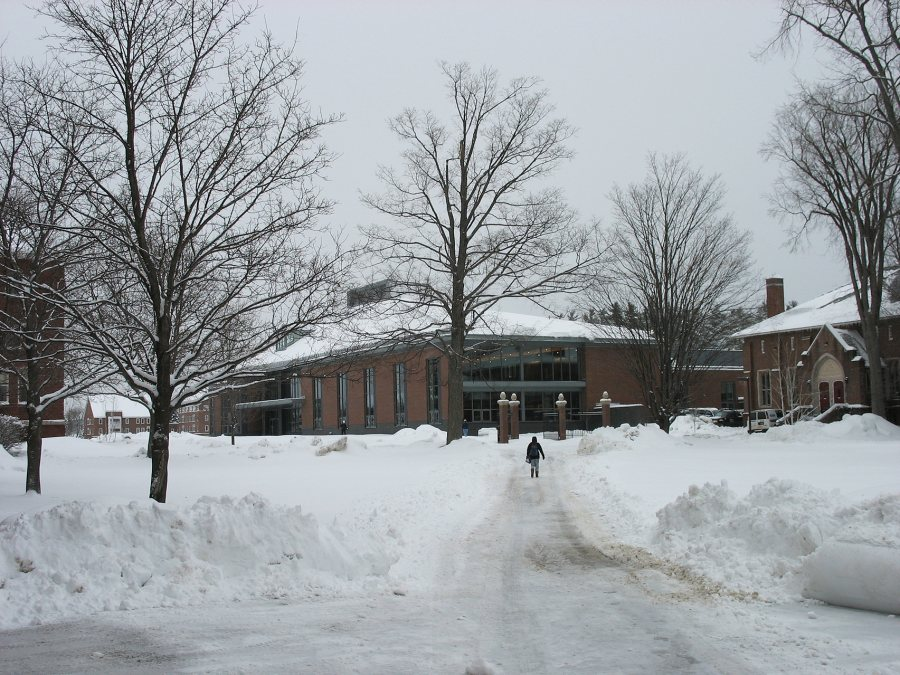 The new Commons seen from the Library Quad on Feb. 7. (Doug Hubley/Bates College)