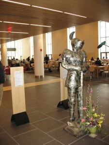 Dining Services' suit of armor greets arriving customers.