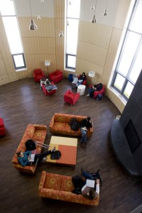 The fireplace lounge seen from the overlook.