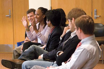 """Young Alumni Panel at Homecoming,""""Life in the Working World,"""" Keck Classroom, Pettengill Hall. Participants included Bill Jack '08, Jason Buxbaum '08."""