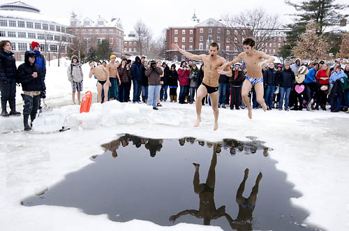 The Annual Puddle Jump is a tradition at Bates College.