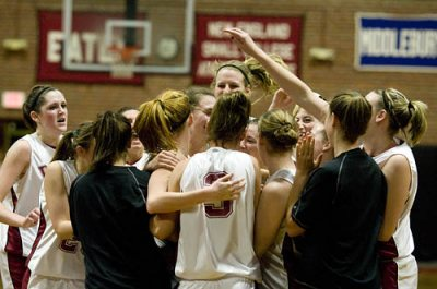 Senior forward Val Beckwith's driving layup went around the rim and dropped in as time expired, giving the Bates College women's basketball team a 73-71 victory over Colby College at Alumni Gymnasium.