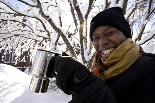 Marylyn Scott, Director of Multicultural Recruitment and Associate Dean for Student Transition, hoists a mug of tea.Winter