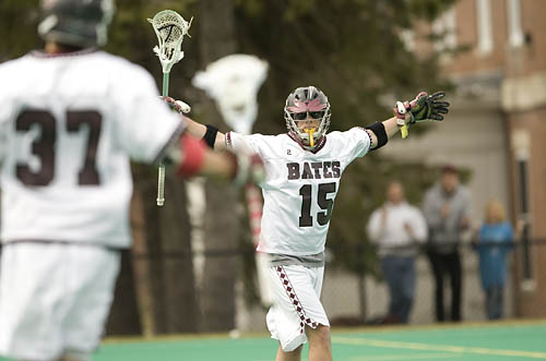 Harper Cullen netted five goals to lead Trinity College past Bates College in a NESCAC men's lacrosse game Saturday at Campus Avenue Field.  The Bantams (9-3, 4-3 NESCAC) led 5-4 at the half and opened up a 9-4 lead in the third quarter en route to their third straight win and fifth in the past six games.  Connor Hustava added three goals and an assist for Trinity, while Rob Mountain and Kevin Looby had a goal and an assist apiece.  Rory Cosgrove (Pittsburgh, Pa.) scored two goals with one assist to lead the Bates (3-8, 1-6 NESCAC) offense. Senior Tyler Moore (North Andover, Mass.) also scored twice, while senior Les Wade (Randolph, N.J.) had a goal and one assist.  Both goalies had strong games, with Trinity's Graham Fadden making 13 saves and Bates first-year Adam Scharff (Glyndon, Md.) collecting 15.  Trinity's Connor Wells had a major impact on the game, winning 13 of 21 faceoffs and collecting a game-high 12 ground balls. Sophomore Pat Jackson (Durham, N.H.) led Bates in ground balls with six.  Trinity converted three of five extra-man opportunities, including three of four before the Bantams were called for their first penalty of the game late in the third quarter. Bates converted one of two EMOs.  Trinity went up 2-1 on an EMO goal by Cullen in the first quarter, but Moore answered with two straight goals for a 3-2 Bates lead early in the second quarter. Cullen evened the game at 3-3, and the Bantams retook the lead with a man-up goal by Looby, then extended it to 5-3 when Looby fed Mountain with 1:47 left in the half. Cosgrove chipped at the lead with an unassisted tally wth 36 seconds left in the half.  Trinity opened the third quarter with four straight goals. Cullen started it less than two mintues in on a feed by Art Schweitzer, and Zachary Trudeau scored unassisted a minute later. Cullen and Hustava scored back-to-back goals in the sixth minute of the period to make it 9-4 Trinity. Hustava then sandwiched Cosgrove's second goal with his second and thir