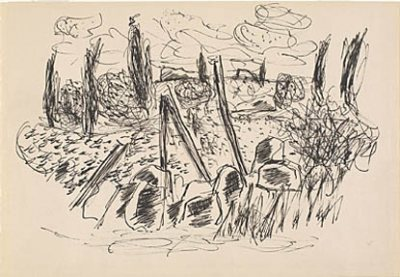 Untitled (Blueberry Patch), ink drawing by Marsden Hartley, c. 1934-36