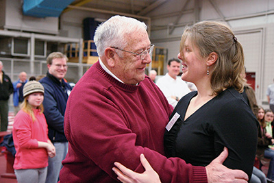 Longtime Bates throwing coach Joe Woodhead was honored prior to the annual Maine Men's Intercollegiate Track and Field Championships Feb. 7, with the naming of the throwing circle inside Merrill to be officially renamed the Joseph Woodhead All-American Throwing Area. Some of his former athletes made inaugural throws inside the area, including  Joe Welch '94, Bill McEvila '99, Lucas Adams '00, Jaime Sawler '02, Scott Cooper '05, Dustin Gauthier '05, Noah Gauthier '08 and Rich McNeil '10, and from the women's team, Keelin Godsey '06 and Vantiel Elizabeth Duncan '10.   Story: http://www.bates.edu/x197622.xml