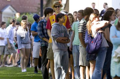 First-year students line up in preparation for Convocation.