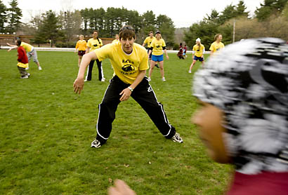 Above: Jon Blanchard '08, of Tewksbury, Mass., a captain of the Bates men's rowing team, channels his inner Frankenstein during the first annual Bates Field Day. The afternoon of games led by Bates student-athletes attracted about 200 local children to campus.