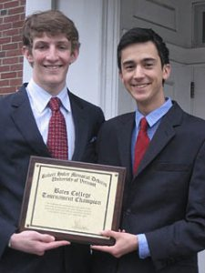 Bates debaters Colin Etnire '12 and Ian Mahmud '12