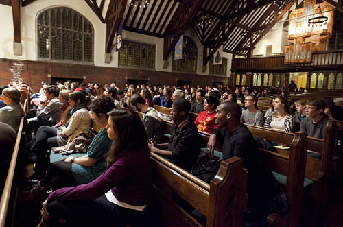 Debate audience in the College Chapel