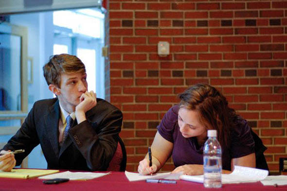 Debaters Colin Etnire '12 and Ariela Silberstein '10