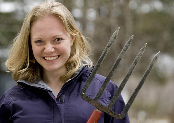 Molly Mylius '11 of Anchorage, Alaska, will lead a campus gardening group on Bates' first annual EcoService Day.