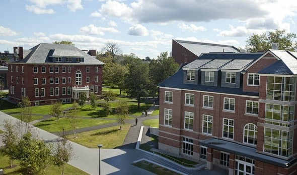 "The renovated Roger Williams Hall (at left) and Hedge Hall: ""Projects I am proudest of,"" says Terry Beckmann. (Phyllis Graber Jensen/Bates College)"