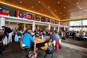 Flags of the world hang in New Commons on United Nations Day. Photograph by Rene Minnis.