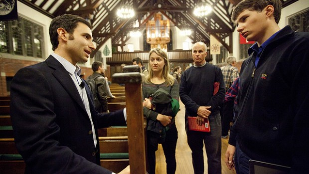 Andrews lecturer Scott Belsky, left, speaks with audience members after his talk, including, Alexey Bobko '13, of Minsk, Belarus.