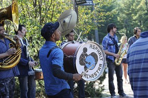 Asphalt Orchestra performs on the Olin Arts Center terrace on Oct. 8. Photograph by Jose Leiva.