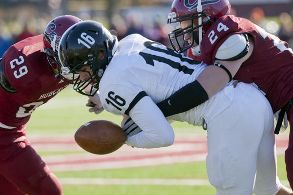 Brett McAllister forces a fumble by Bowdoin quarterback Mac Caputi during Bates' 24-2 win over the Polar Bears.