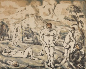 """Les Baigneurs,"" a lithograph by Paul Cezanne, appears in the Museum of Art exhibition ""25."""