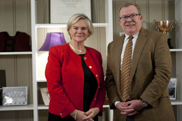 Interim President Nancy Cable and Chair of the Board of Trustees Mike Bonney '80.