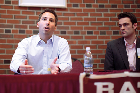 Jason Hall '97 makes a point during the Homecoming panel discussion as Bates PRIDE founder Larry Handerhan '05 looks on. Photograph by H. Lincoln Benedict '09.